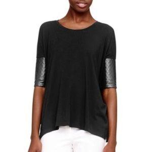 CLUB MONACO Oversized T-Shirt Leather Elbow Sleeve